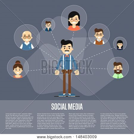 Smiling cartoon man with own successful social network. Social media banner on gray background, vector illustration. Connecting people. Teamwork concept. Project coordination. Business team
