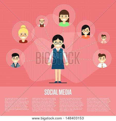 Smiling cartoon girl with own successful social network. Social media banner on red background, vector illustration. Connecting people. Teamwork concept. Virtual communication. Media marketing