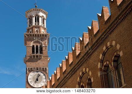 Medieval tower of Lamberti (Torre dei Lamberti) (XI century - 84 m.) in Verona (UNESCO world heritage site) - Veneto Italy