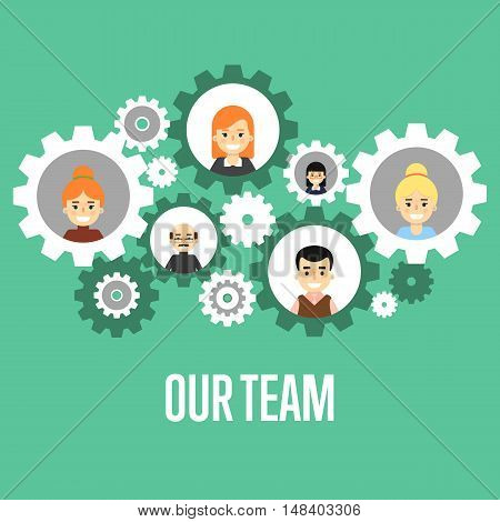 Smiling people characters in round gear icons on green background. Our team banner, vector illustration. Collaboration and partnership. Concept of teamwork with gear system. Social communication.