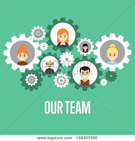 Cartoon teamwork people characters. Social network of teamwork people. Social media and social network people connect. Teamwork people together vector. Business team and teamwork concept. Teamwork people partnership and teamwork business community concept