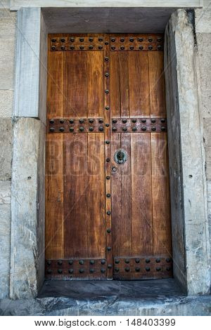 old wooden door in stoa of attalos in Ancient Agora Athens Greece