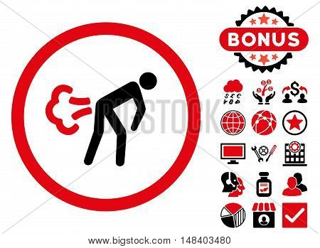 Fart icon with bonus design elements. Vector illustration style is flat iconic bicolor symbols, intensive red and black colors, white background.