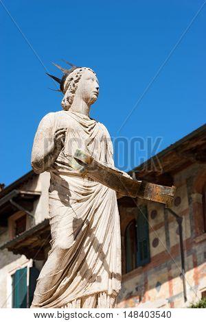Detail of the fountain of Madonna Verona in Piazza delle Erbe Verona Veneto Italy (UNESCO heritage)