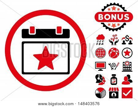Favourites Day icon with bonus pictures. Vector illustration style is flat iconic bicolor symbols, intensive red and black colors, white background.