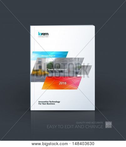 Brochure template layout, cover design annual report, magazine, flyer, leaflet in A4 with blue orange dynamic rectangles with overlap effect for business and hi-tech. Creative vector art.