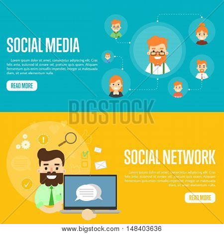 Smiling man with own successful social network. Cartoon man holding laptop with speech bubbles on screen. Social media network banners, vector illustration. Connecting people. Teamwork concept