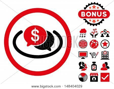 Financial Messages icon with bonus pictogram. Vector illustration style is flat iconic bicolor symbols, intensive red and black colors, white background.