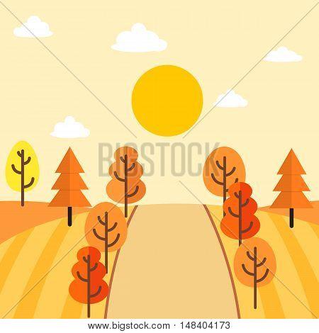 Autumn themed countryside landscape vector illustration design