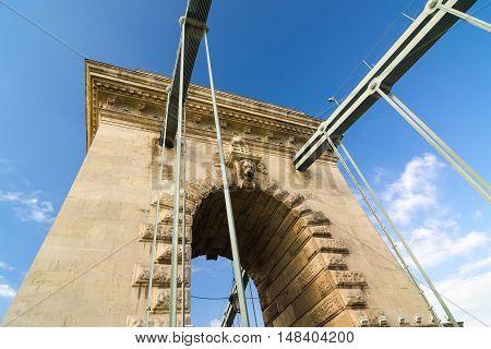 The pillar of the Szechenyi Chain Bridge in Budapest, Hungary.