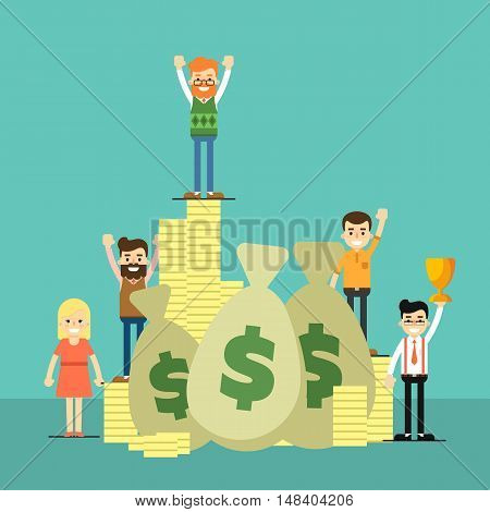 Happy people near big pile of cash and coins, isolated vector illustration on blue background. Business success banner. Win concept. Collaboration and partnership, working together. Teamwork design