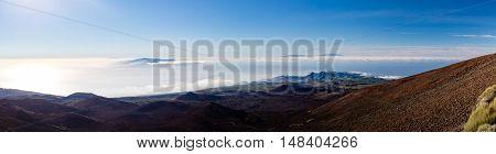 Panoramic inspirational mountains landscape from volcano on Tenerife Canary Islands. View on islands La Palma La Gomera