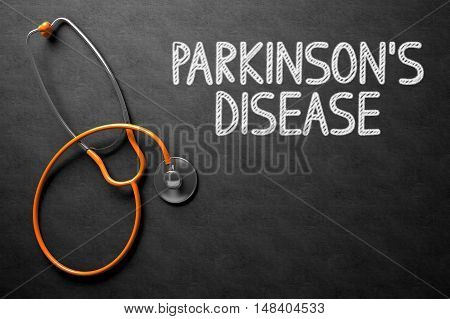 Medical Concept: Top View of Orange Stethoscope on Black Chalkboard with Medical Concept - Parkinsons Disease. Medical Concept: Parkinsons Disease - Medical Concept on Black Chalkboard. 3D Rendering.