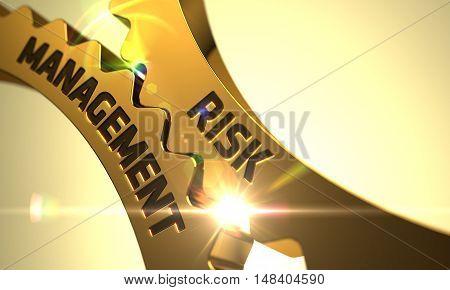 Golden Cog Gears with Risk Management Concept. 3D.