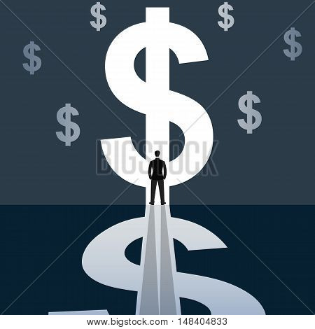 Illustration of a businessman standing in bright dollar sign