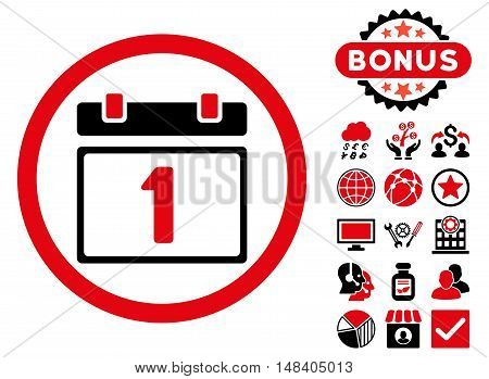 First Day icon with bonus symbols. Vector illustration style is flat iconic bicolor symbols, intensive red and black colors, white background.