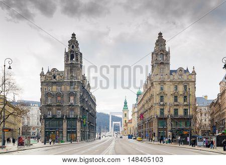 BUDAPEST, HUNGARY - FEBRUARY 21, 2016: Klotild Palace in Budapest, Hungary. The twin palaces built in neo-baroque style.