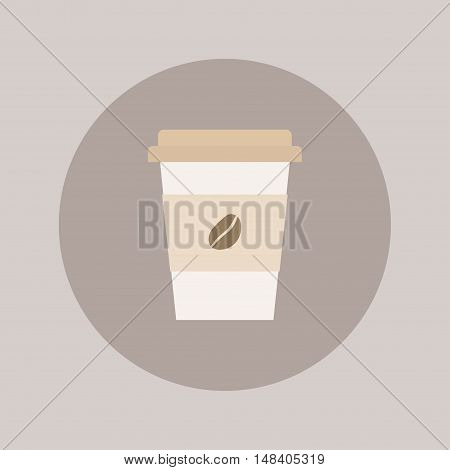 Coffee cup vector illustration. Paper coffee cup icon isolated on background. Plastic coffee cup with hot coffee in flat style. Coffee cup beans.