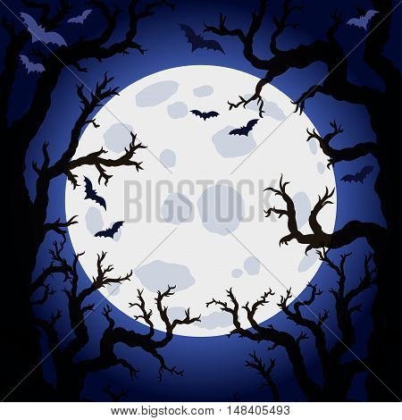 Halloween abstract background with moon and scary tree brushes. Spooky forest with dead trees. Vector