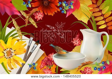 Autumn vector composition with a pitcher and bird drinking water from a pottery bowl brush and sheets of paper