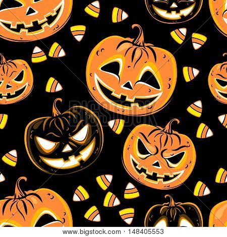 Seamless pattern with a pumpkins and candies. Halloween Party design template. Vector