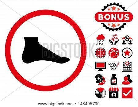Foot icon with bonus elements. Vector illustration style is flat iconic bicolor symbols, intensive red and black colors, white background.