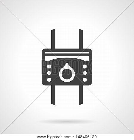 System of heating with heat regulator device. Temperature controller with round switch and buttons. Heated floor equipment. Monochrome black flat design vector icon.