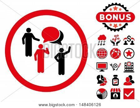 Forum Persons icon with bonus images. Vector illustration style is flat iconic bicolor symbols, intensive red and black colors, white background.
