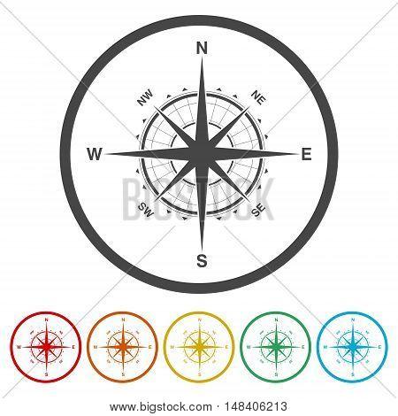 Compass icon set. Compass icon art. Six colors