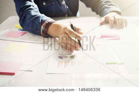 Startup Business Woman Working With Business Documents.