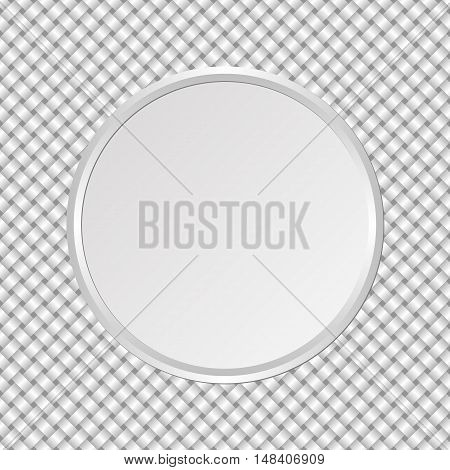 round plate on interlaced background - vector illustration