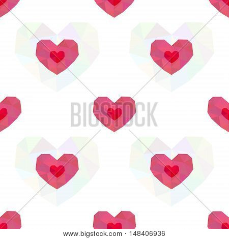Seamless pattern of polygonal pink hearts on white background. Valentines day background