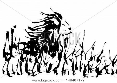 Lion silhouette isolated on a white background. Vector illustration.