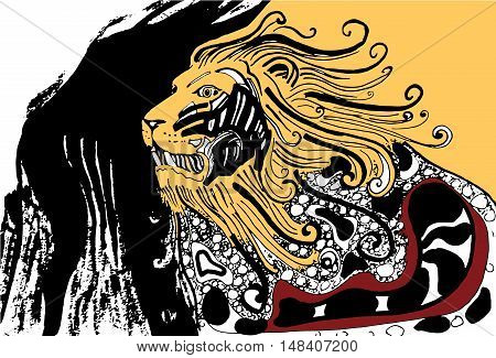 Proud angry lion  isolated on a white background. Vector illustration.