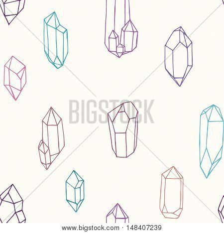 Seamless pattern with geometric crystals and gems