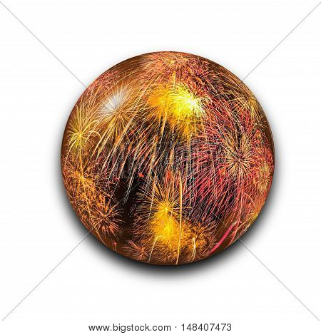 Isolated Abstract Fireworks In The Glass Ball On White Background With Clipping Path