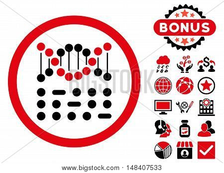 Genetic Code icon with bonus pictogram. Vector illustration style is flat iconic bicolor symbols, intensive red and black colors, white background.