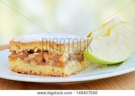 Apple pie square bar with cinnamon and powered sugar on white plate