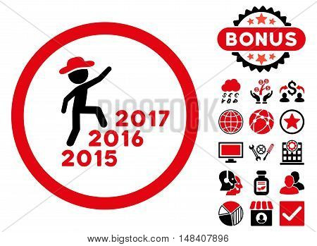 Gentleman Steps Years icon with bonus symbols. Vector illustration style is flat iconic bicolor symbols, intensive red and black colors, white background.