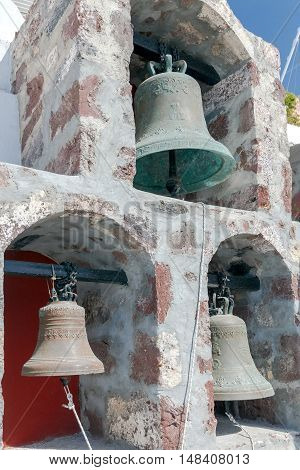 The bells in the belfry of a traditional Greek Church.