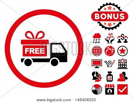Gift Delivery icon with bonus symbols. Vector illustration style is flat iconic bicolor symbols, intensive red and black colors, white background.