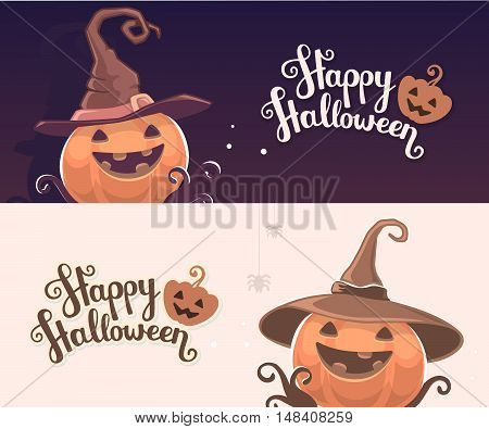 Vector Template With Halloween Illustration Of Decorative Orange Pumpkin In Witch Hat With Eyes, Smi