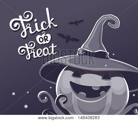 Vector Black And White Halloween Illustration Of Decorative Pumpkin In Witch Hat With Eyes, Smile, T