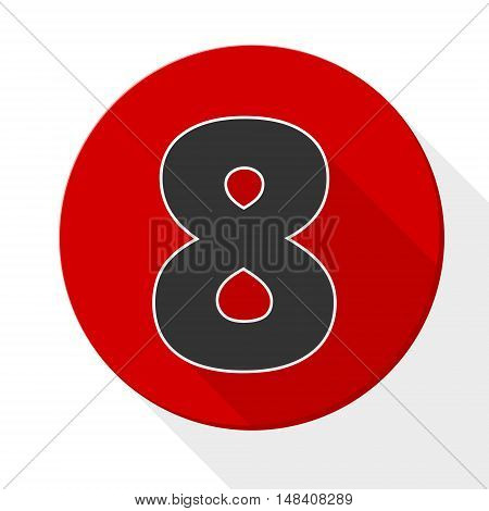 Red 8 flat icon button with long shadow