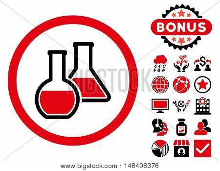 Glass Flasks icon with bonus pictogram. Vector illustration style is flat iconic bicolor symbols, intensive red and black colors, white background.