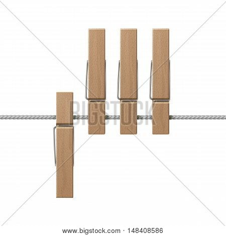 Vector Wooden Clothespins Pegs on Rope Side View Close up Isolated on White Background