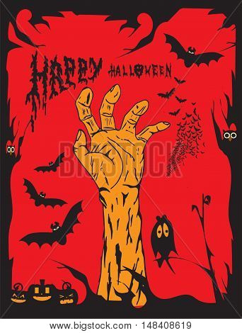 Happy Halloween background with human hand illustration