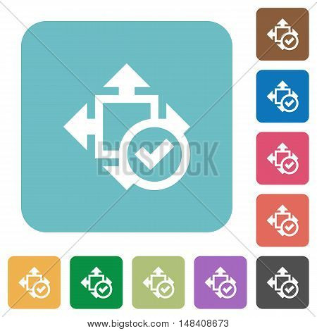 Flat accept size icons on rounded square color backgrounds.