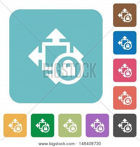 Flat size lock icons on rounded square color backgrounds.