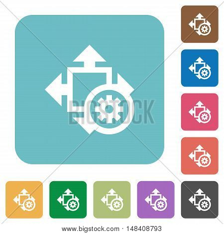 Flat size settings icons on rounded square color backgrounds.